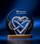Black and Clear Circular Award on Wooden Base Circle Awards
